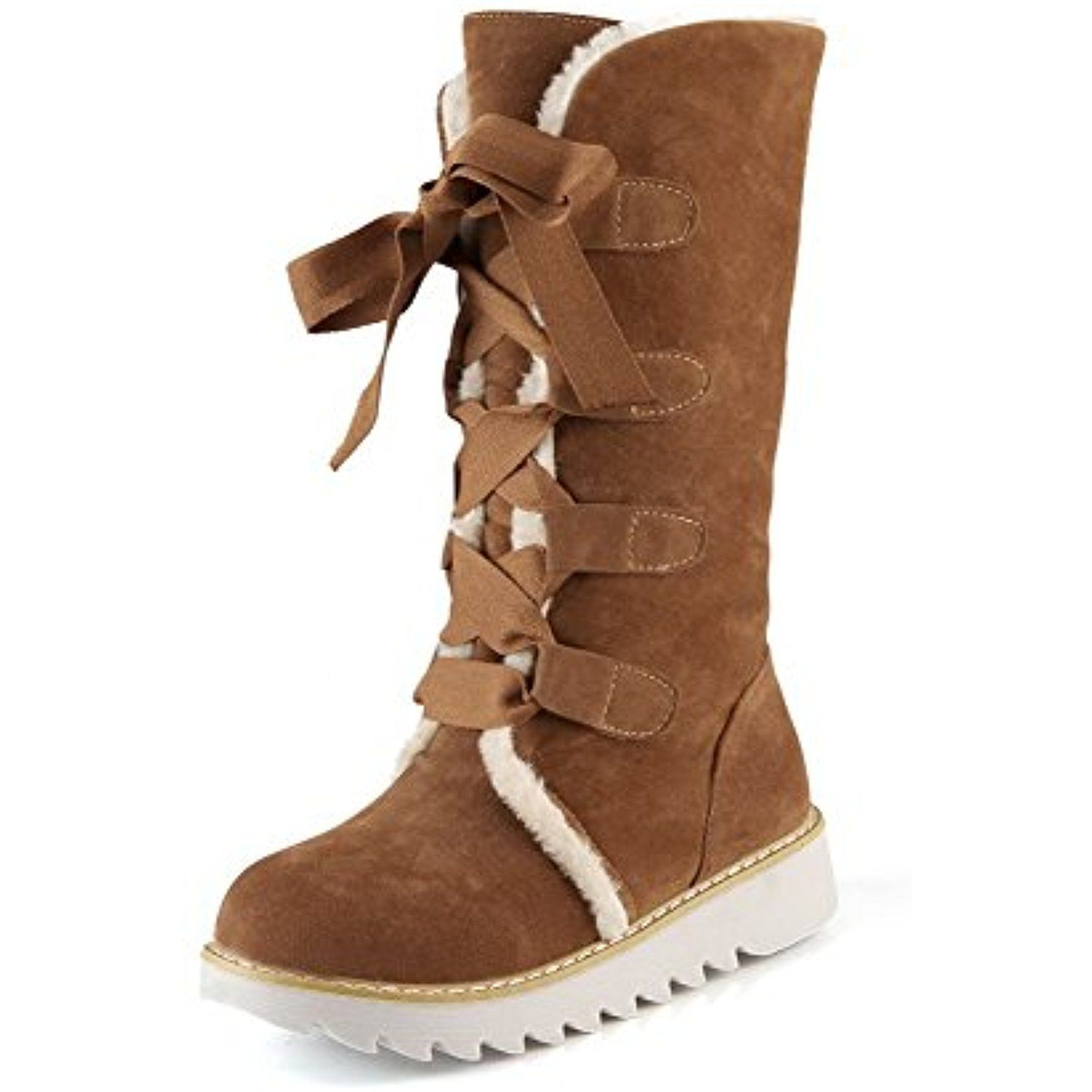 Women's Frosted Lace-Up Round Closed Toe Low Heels Low Top Boots