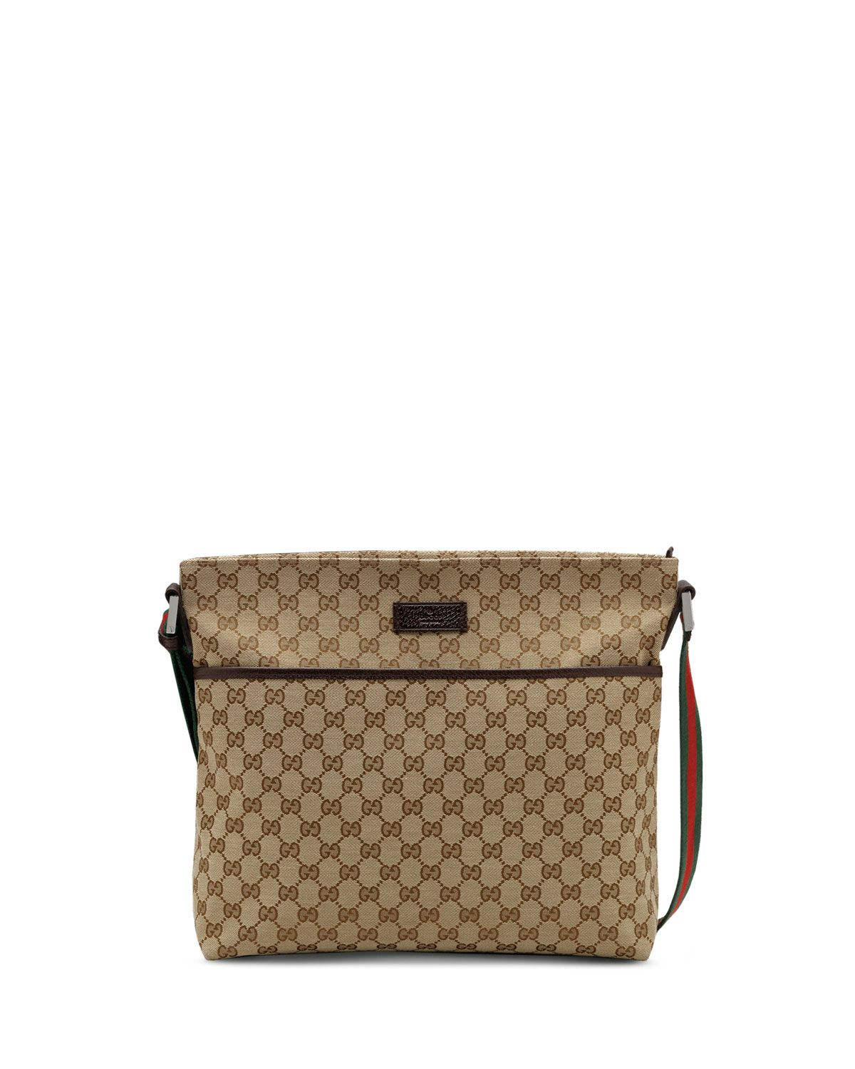f82468072 Gucci Original GG Pocketed Canvas Messenger Bag with Signature Web Strap,  Brown
