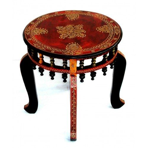 Wooden Rajasthani Embossed Hand Painted Table