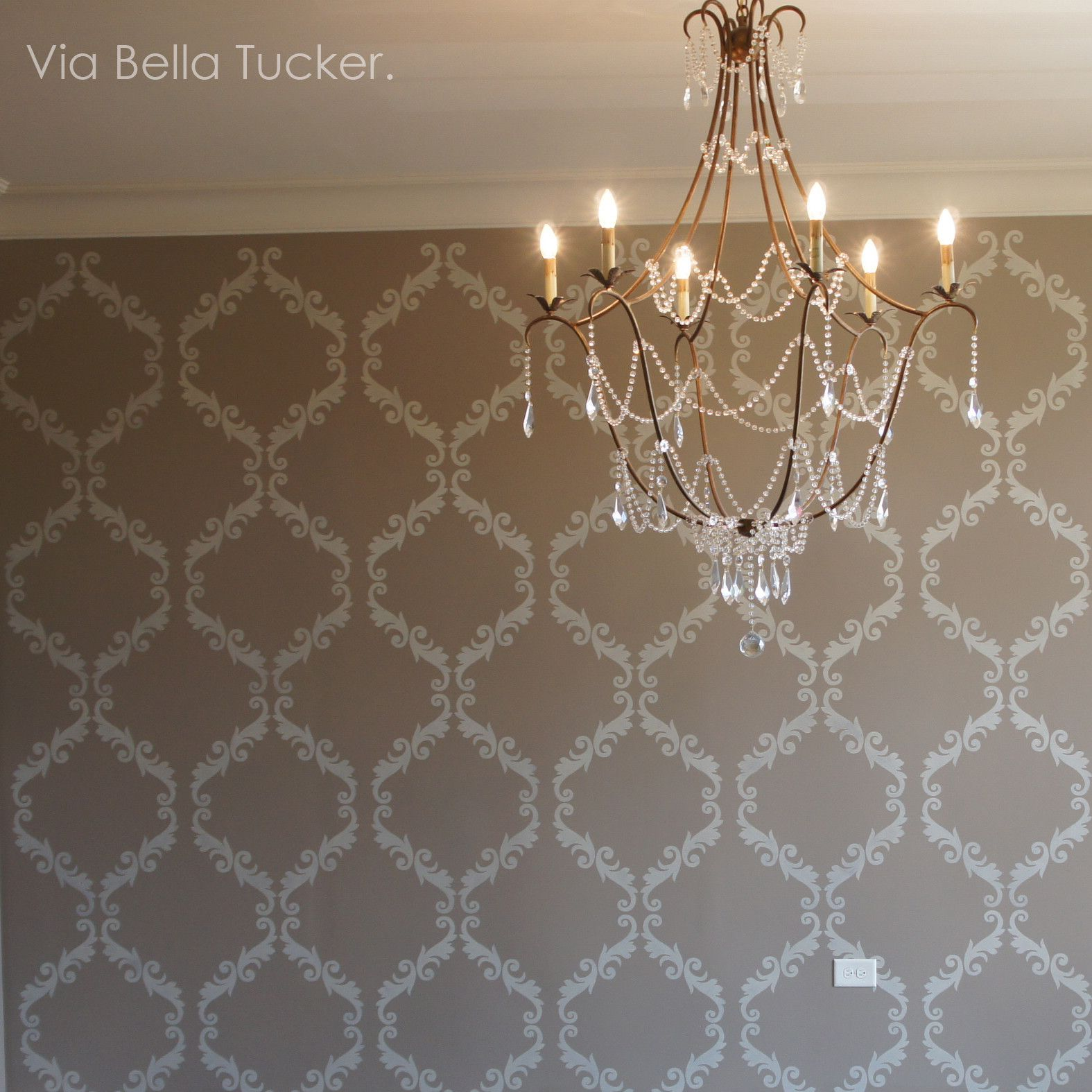 Royal design wallpaper the wallpaper acanthus trellis wall stencil trendy wallpaper wall stenciling amipublicfo Image collections