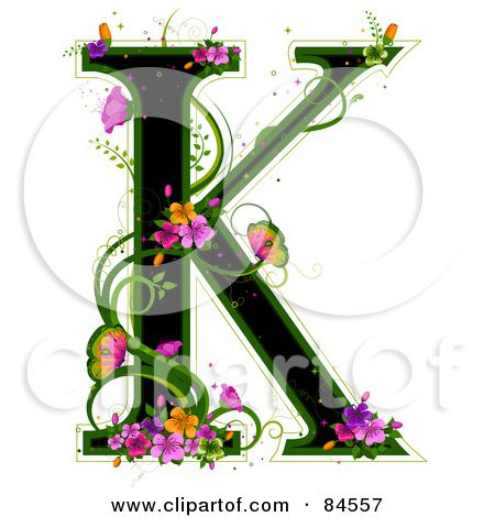 black capital letter k outlined in green with colorful flowers and rh pinterest com letter k clipart free letter c clipart with vines