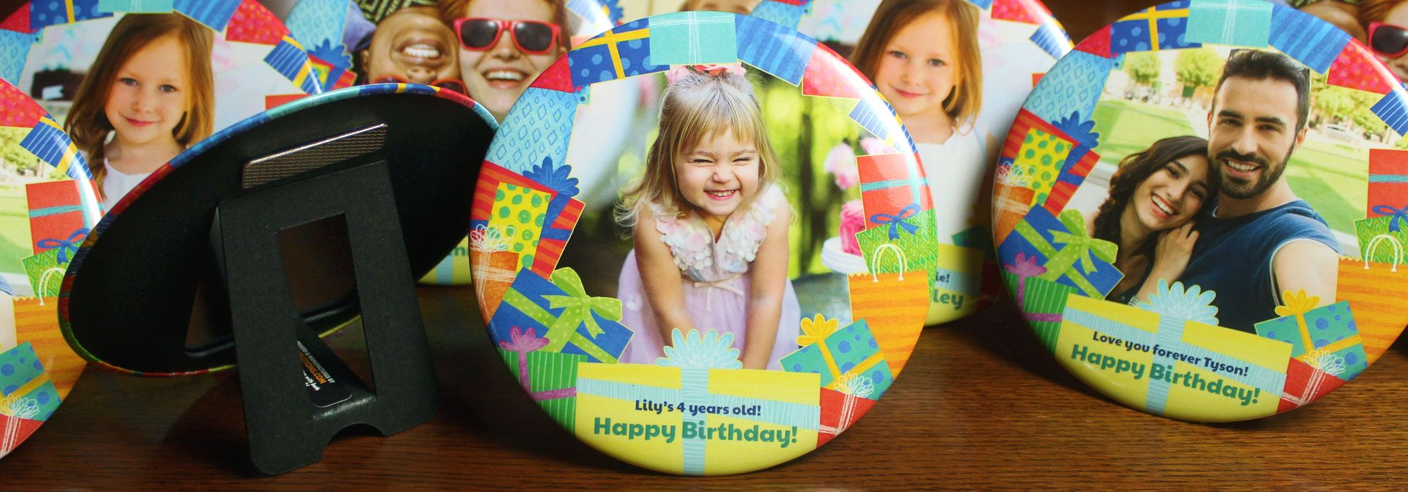 Party Presents 6 Inch magnetic easel display. Print photos in this free birthday border design! Customize yours quick with our easy tool. Makes a great affordable birthday gift!