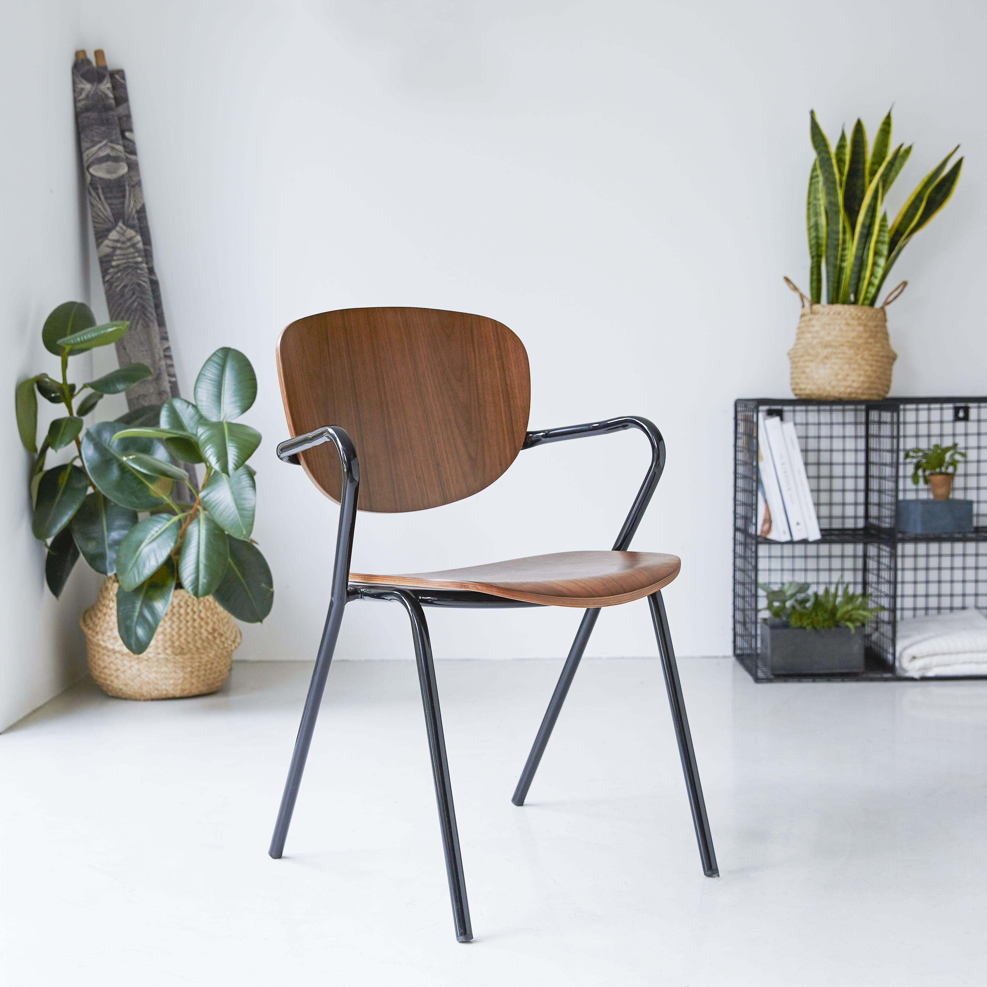 Chaise en métal noir et chêne Assises de salle à manger