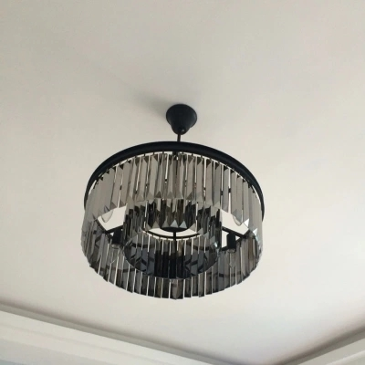 470.00$  Buy here - http://alicsc.worldwells.pw/go.php?t=32586355757 - American Retro Round Gray Crystal Chandelier LED Light Fixtures For Living Dining Room Hanging Lamp Indoor Lighting Lamparas 470.00$