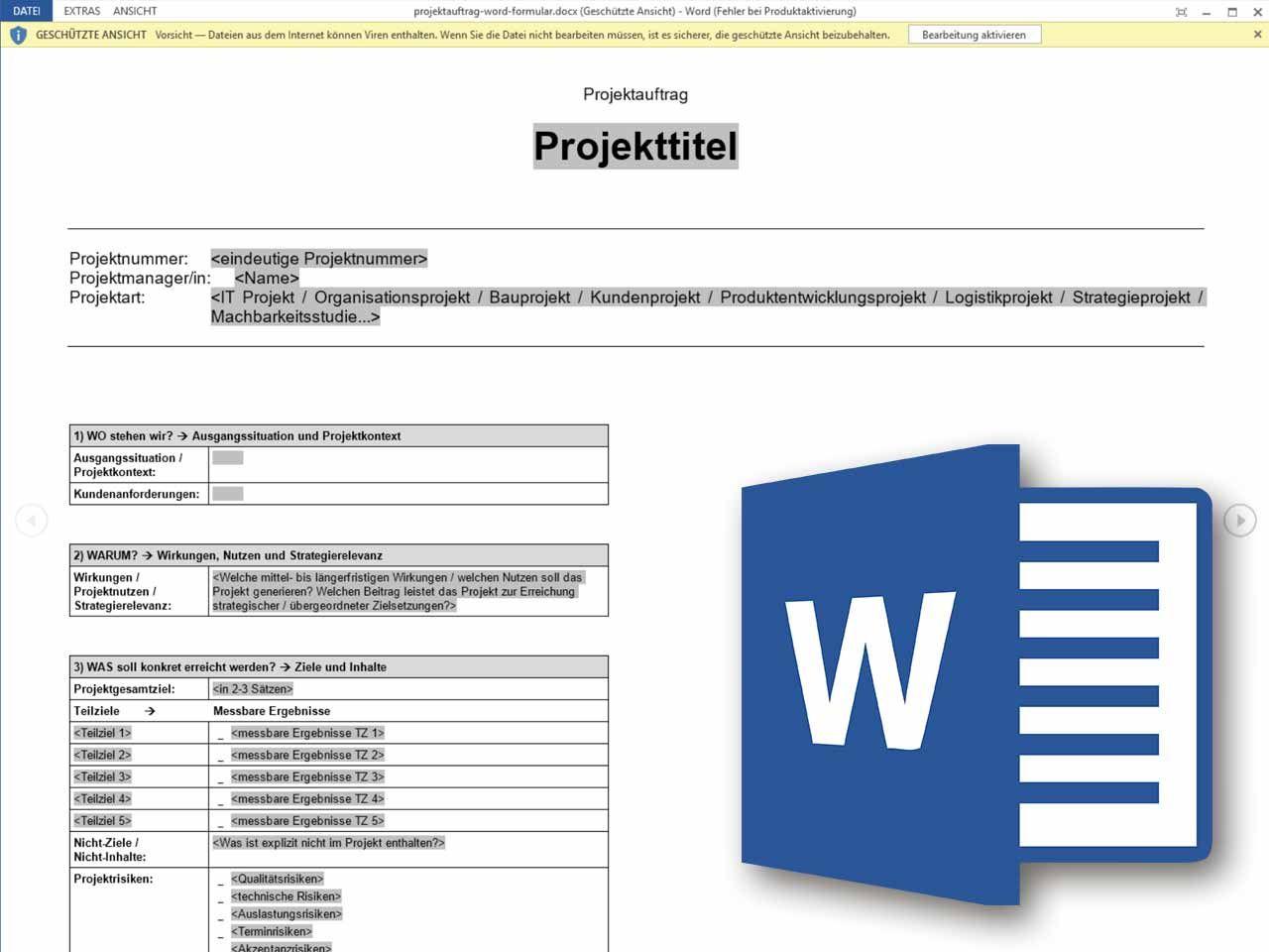 Projektauftrag Word Formular Projektauftrag Projektmanagement Projekt Planung