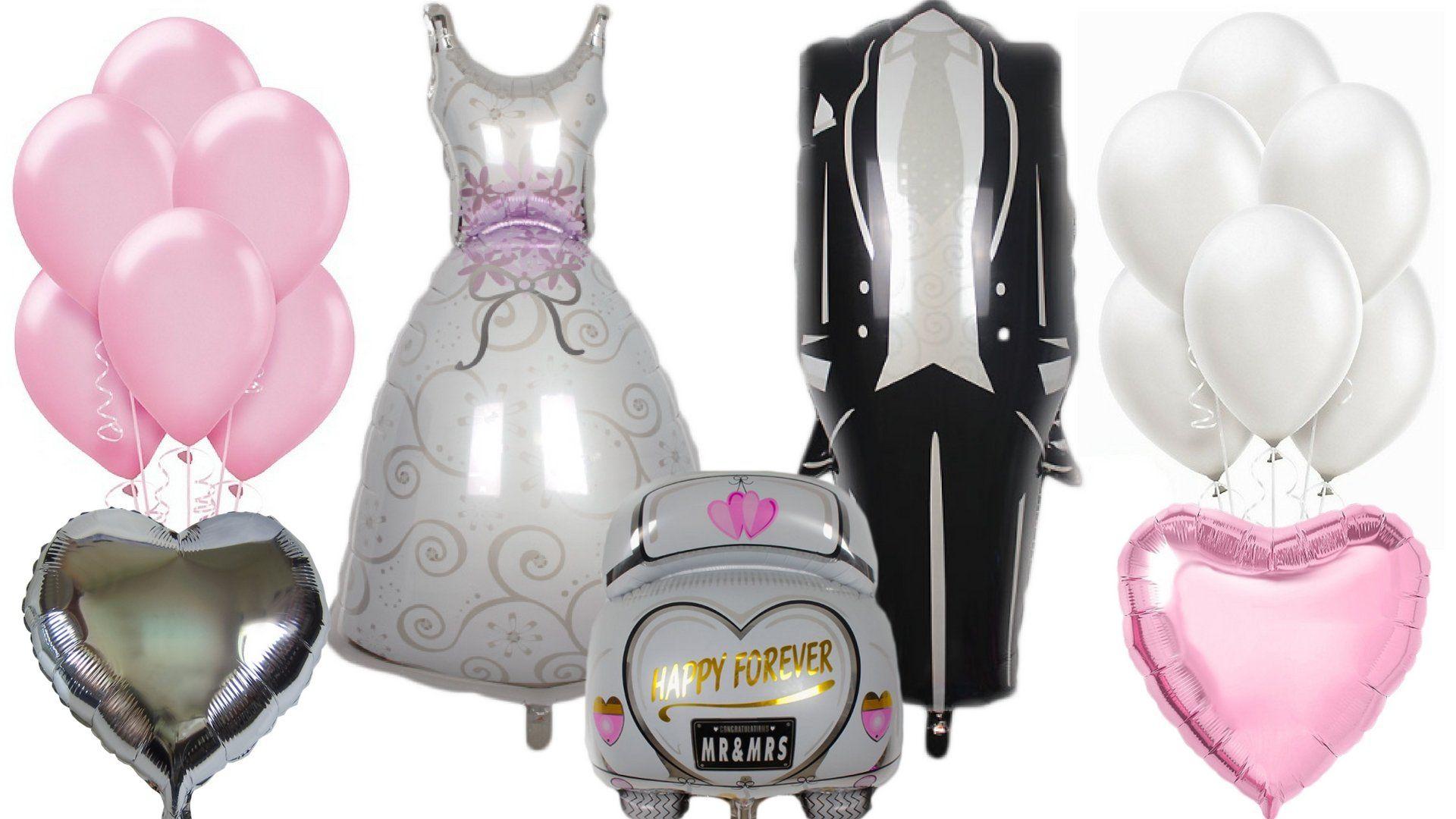Giant 46 bride groom mylar balloons pink white 12 latex pearl giant 46 bride groom mylar balloons pink white 12 latex pearl heart wedding decoration junglespirit Gallery