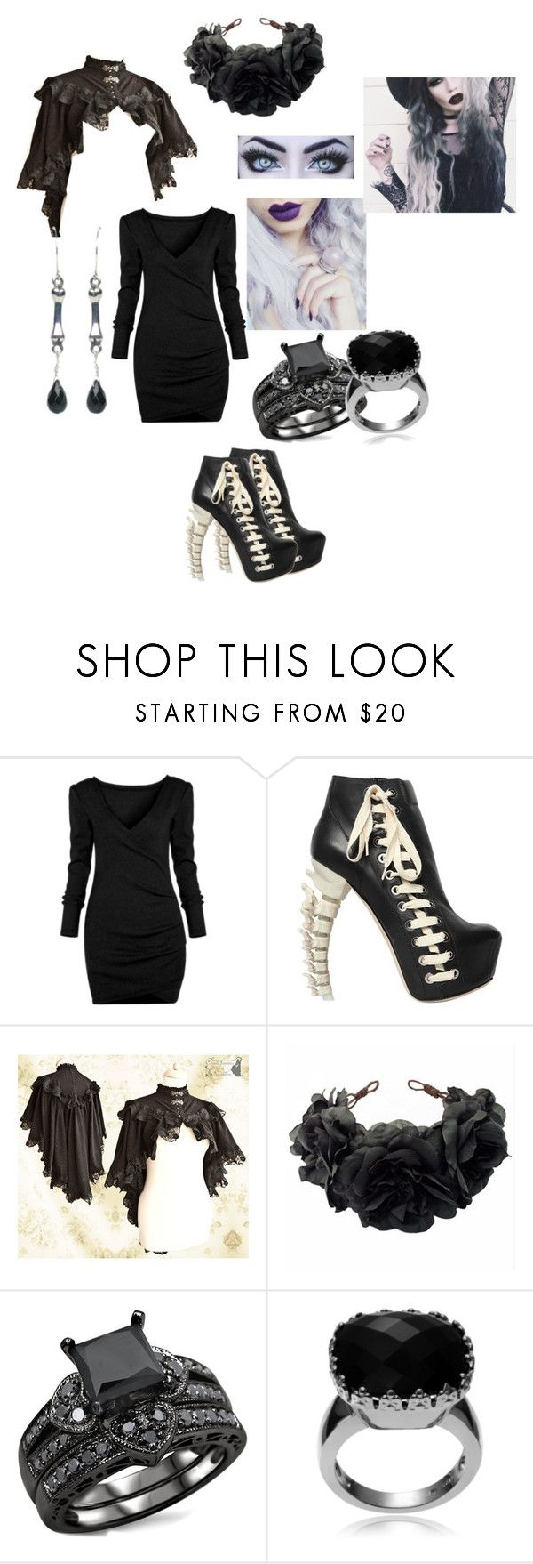 """goth set #11"" by deadlyangel ❤ liked on Polyvore featuring Dsquared2, Rock 'N Rose, Journee Collection and Femme Metale"