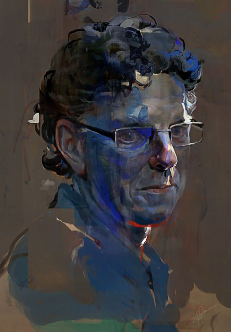 """""""Dad"""" - Jeff Simpson, oil and Photoshop {contemporary figurative #expressionist illustrator male head father man face portrait grunge painting #loveart}"""