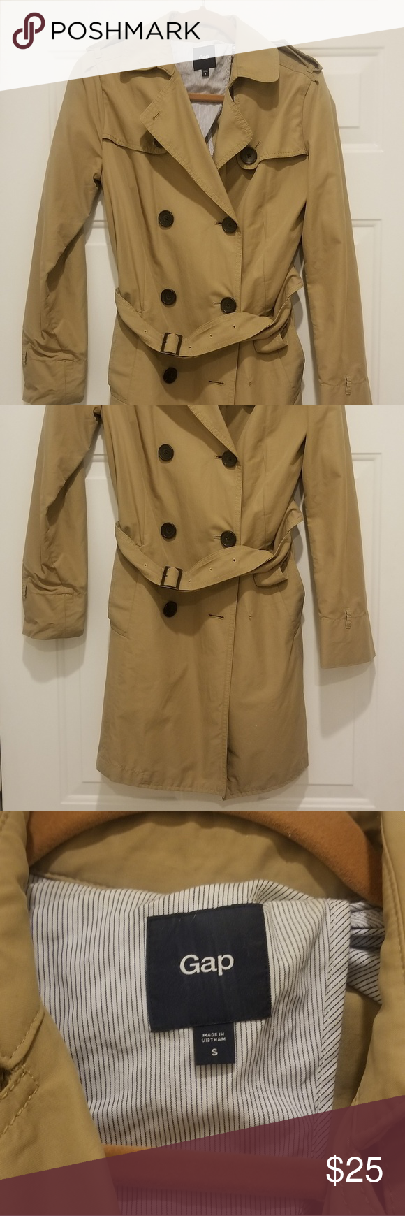 f35c0d543d254 Gap double breasted belted khaki trench coat VGUC! Minimal use. Light weight,  great