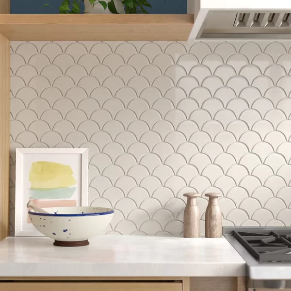 Domino Fish Scale Mesh Mounted Porcelain Mosaic Tile In White Offers A Soft Neutral Look That Com In 2020 Porcelain Mosaic Tile Porcelain Mosaic White Tile Backsplash