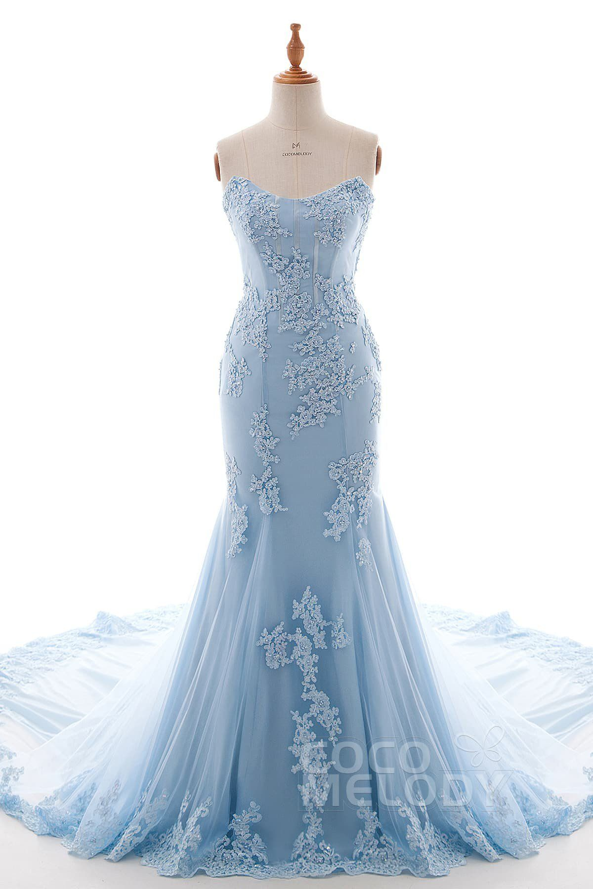 Trumpet-Mermaid Chapel Train Tulle and Chiffon Wedding Dress LD4240 ...