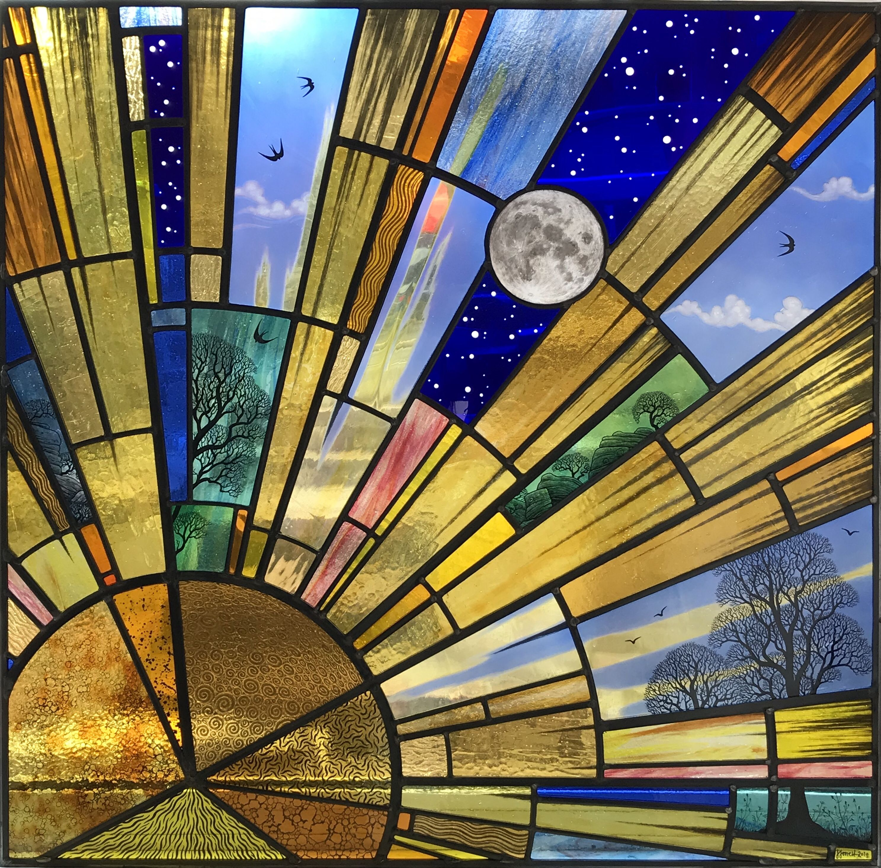 Square Stained Glass Architectural Window Depicting A Sunrise With