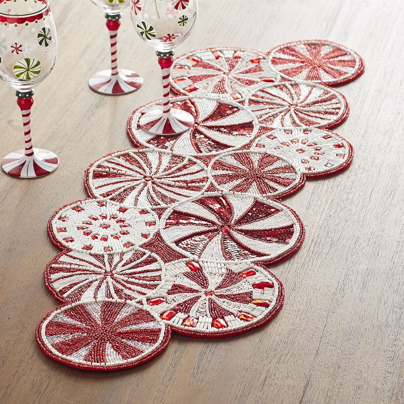 Peppermint Candy Cane Beaded Table Runner Pier 1 Imports Christmas Table Runner Peppermint Candy Table Runners
