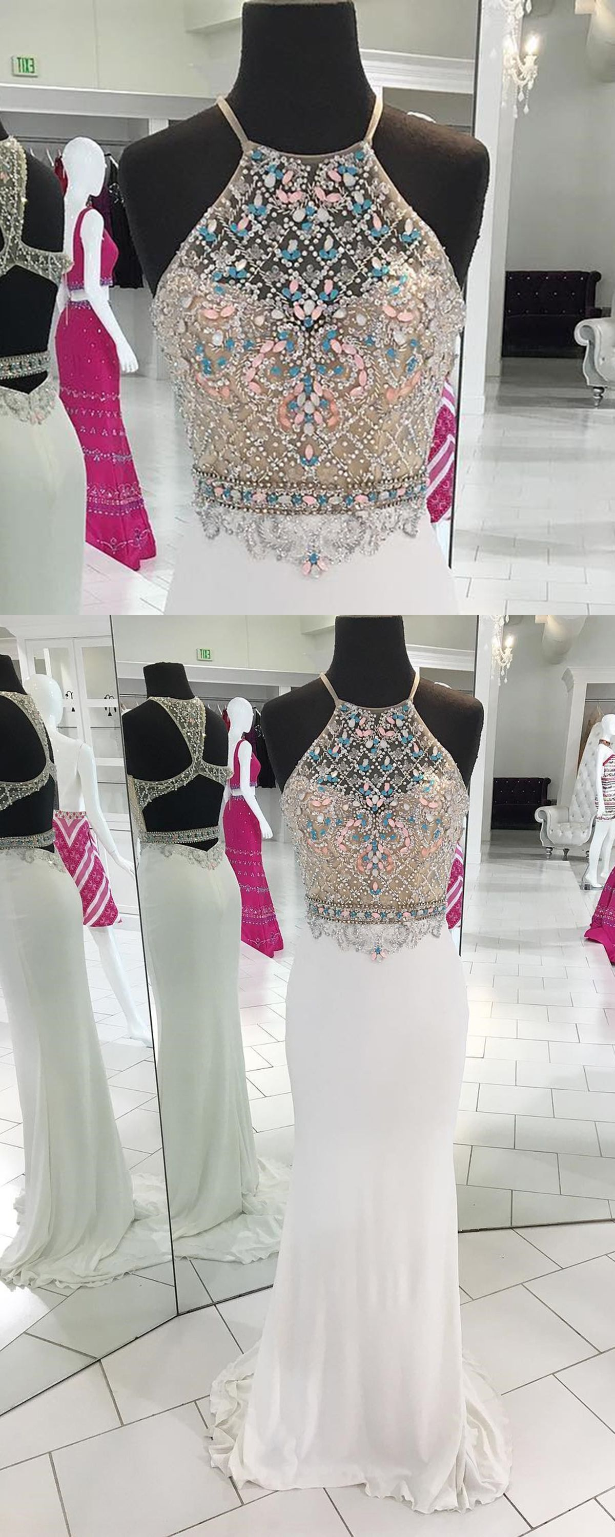Luxurious white chiffon open back long mermaid colorful beaded