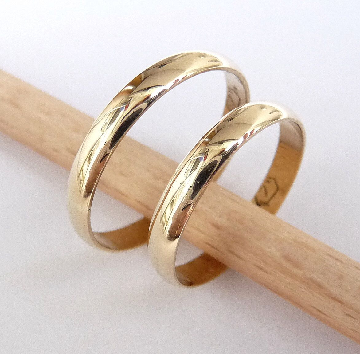 Wedding Ring Set Hers And Hers 14k Gold Rings 3mm Wide By 1mm Thick