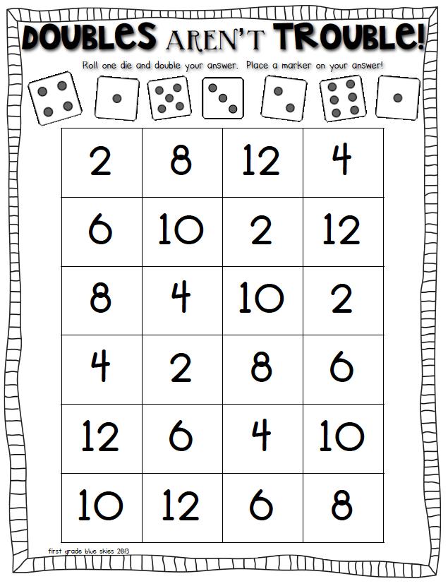 Doubles Math Facts Freebie - First Grade Blue Skies | grade 1 Math ...