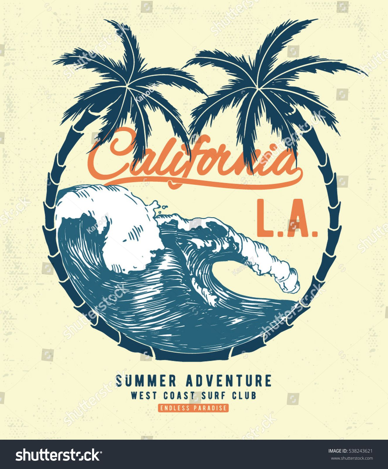 California Surf Typography For T Shirt Print Vector Illustration