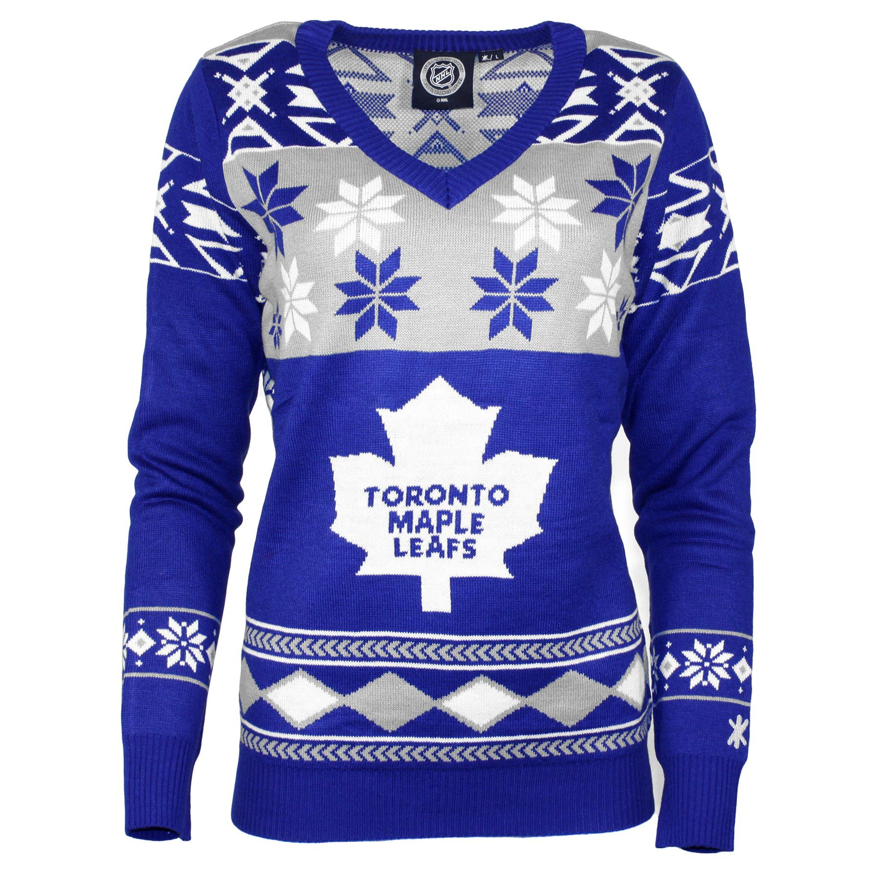 Toronto Maple Leafs Women's NHL 2015 Ugly V-Neck Holiday Sweater ...