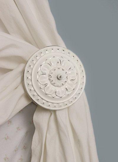 Curtain Tiebacks Cream Antique White Curtain Holdback Tie Backs Set Of 2 Drapery Spindle