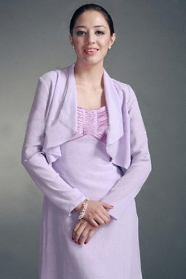 c1be86ff2d Lilac Long sleeves Chiffon Bridal jacket Wedding wrap