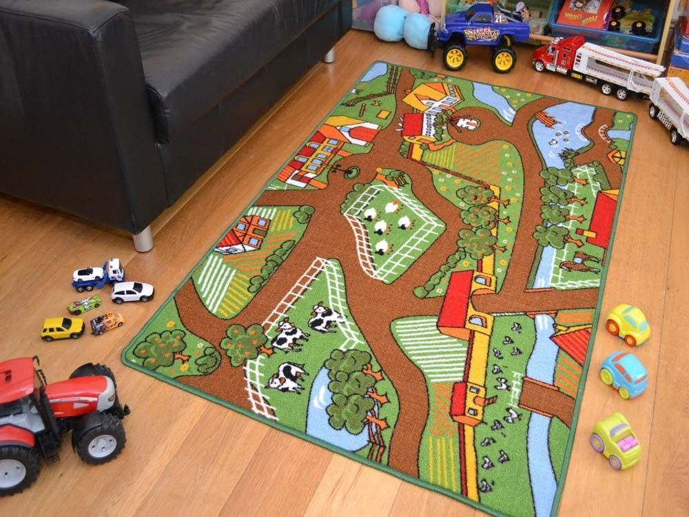 Farm Yard Playmats Boys Kids Large Play Road Field Bedroom Rug Mat Rugs Gr Uk