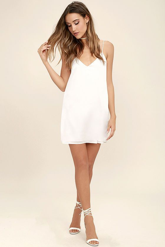 White Satin Slip Dress