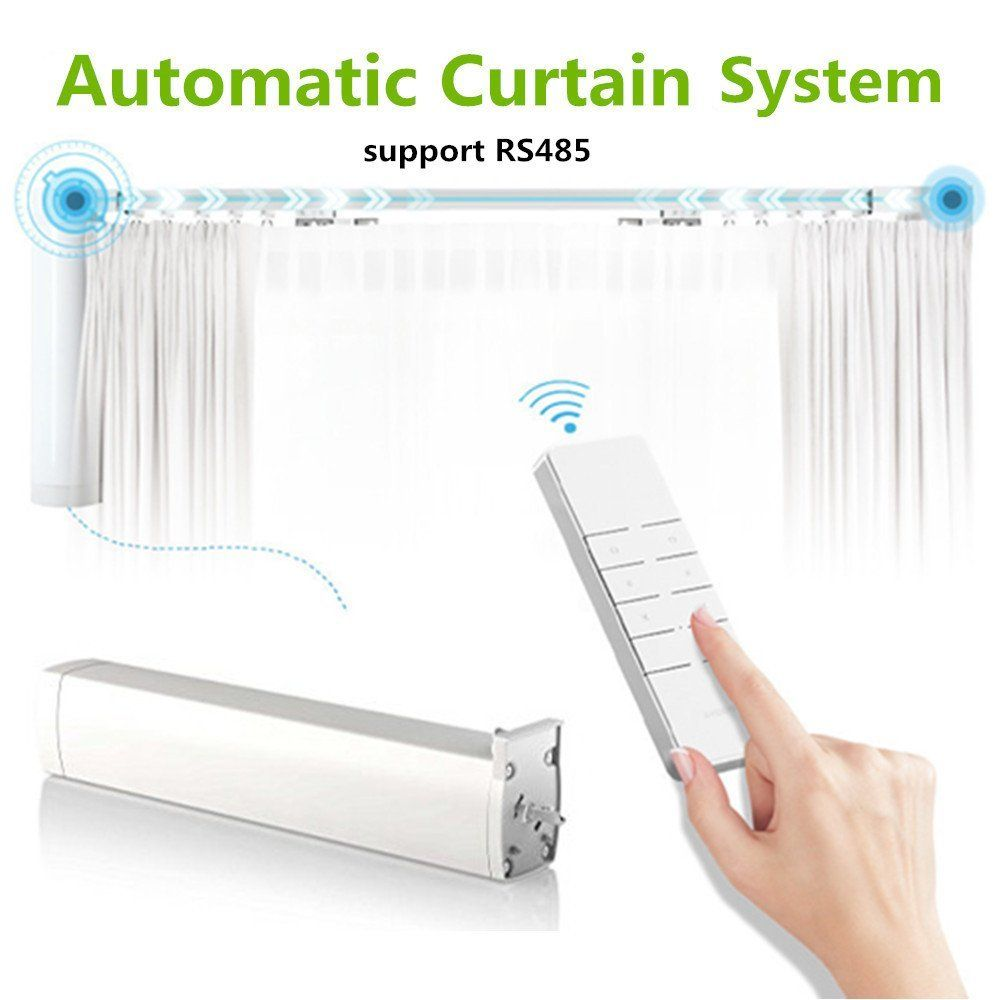Automatic Curtain System Electric Remote Controlled Drapery System Track Center Opening And Wall Mount Brackets S Motorized Curtain Curtains Wall Mount Bracket