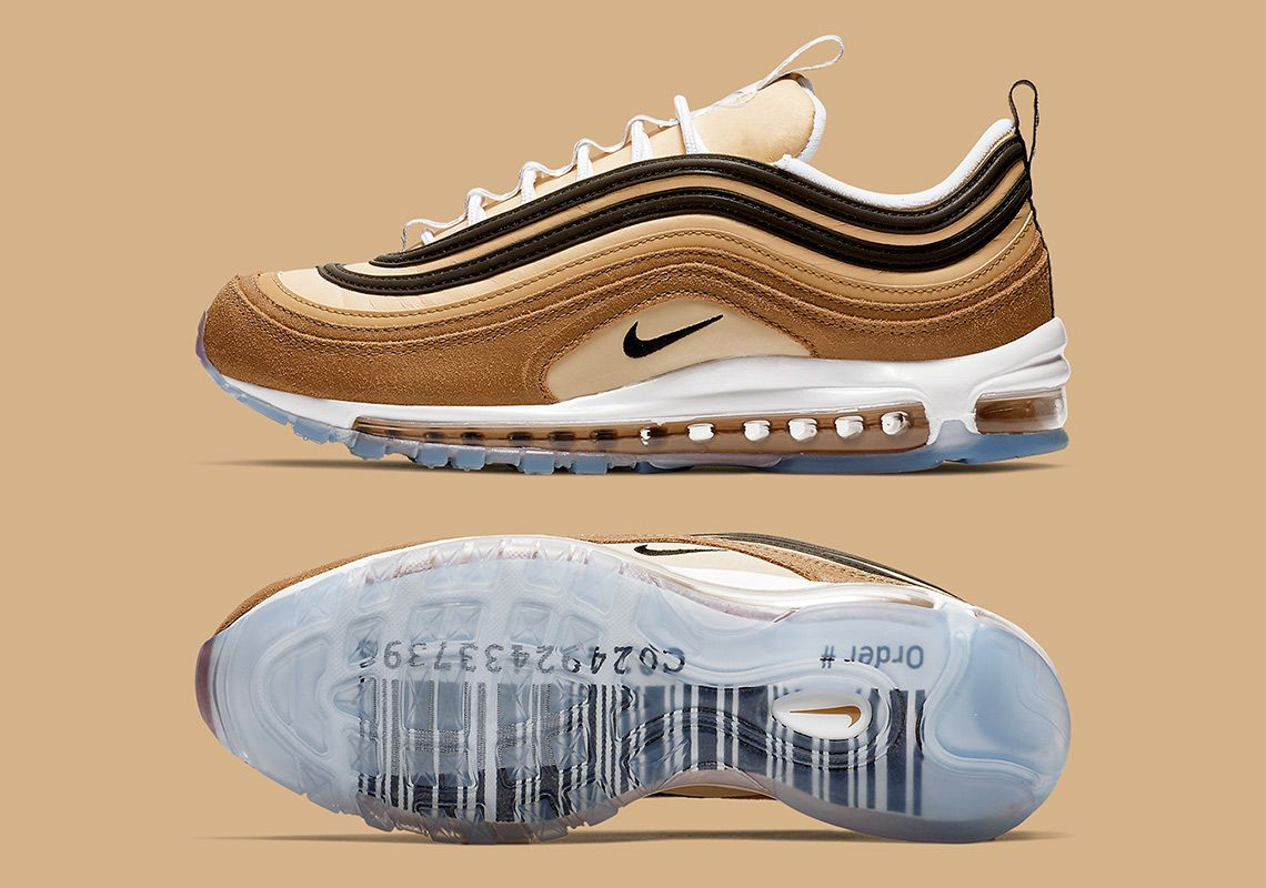 Nike Air Max 97 Barcode Unboxed Brown Gold Men Running Shoes Sneakers 921826-201