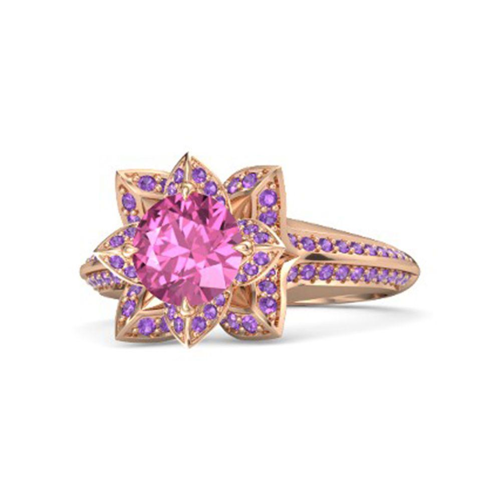 Sterling Silver Amethyst & Pink Sapphire Princess Tiana Lotus ...