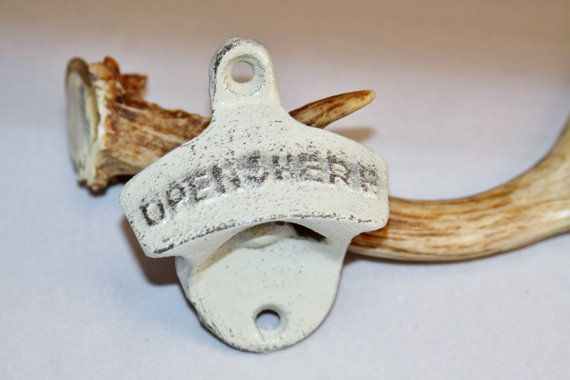 Open Here Bottle Opener Off White Rustic Cast Iron Wall Mount Groomsman Gift Raised Letters