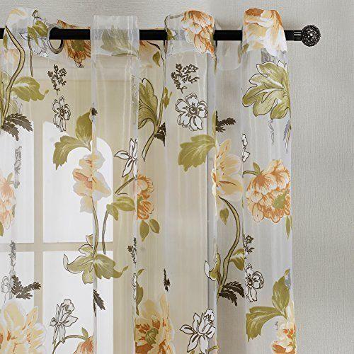 Top finel rideaux voilages oeillets imprim s motifs fleurs jaunes de fen tre pour salon for Rideaux imprimes