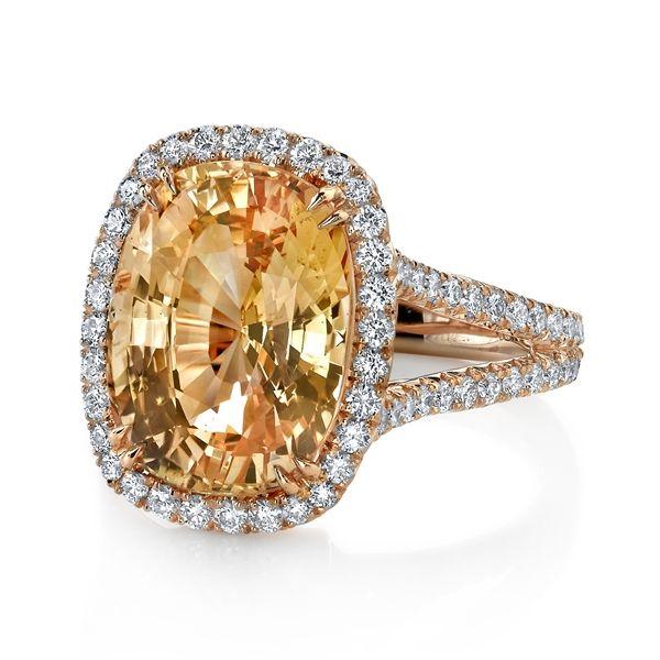 Omi Prive peach sapphire ring