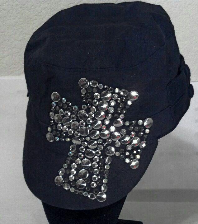 RHINESTONE STUD MALTESE CROSS CADET HAT
