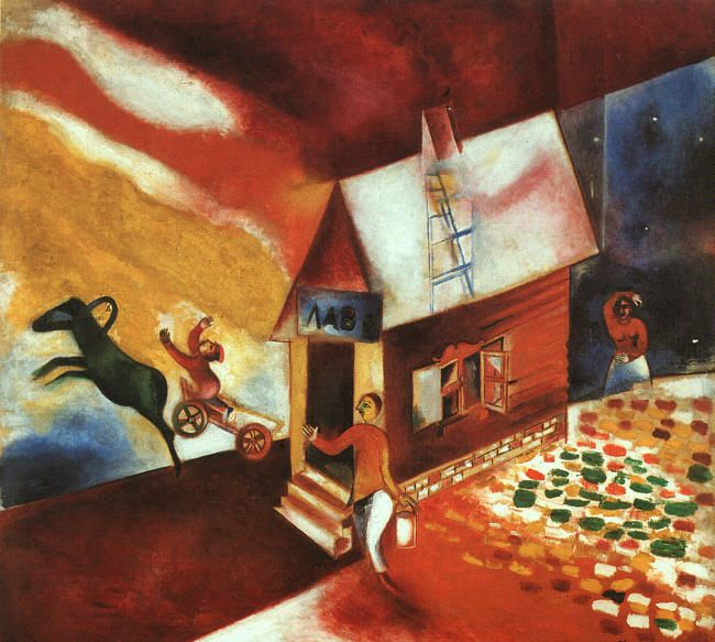 Marc Chagall, 1913, The Flying Cart // Burning House, 00001377-Z