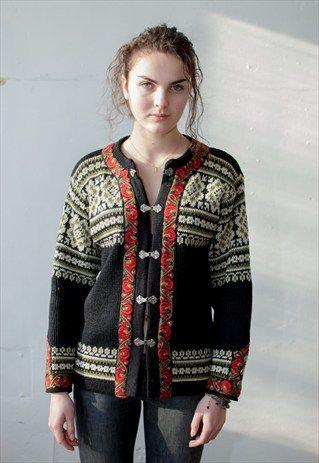 Womens Vintage Retro Knitted Black Norwegian Jumper Cardigan Vintage Carrot Jumpers For Women Women Cardigan