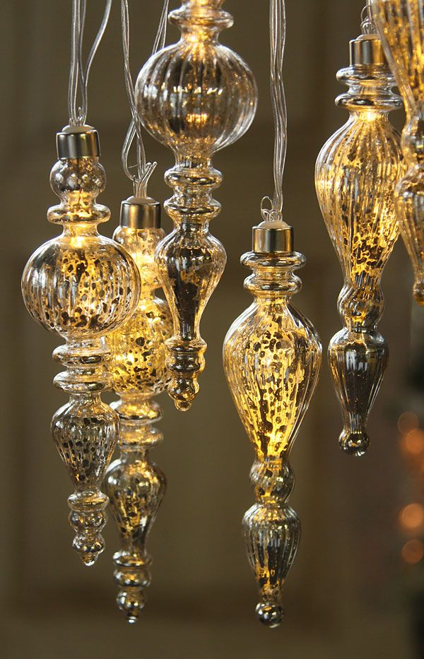Gold Mercury String Lights : Battery Operated Silver Mercury Drop Ornament String Lights - Set of 6 with Timer DIY ...