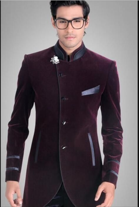 Details about Men's Purple Velvet Jacket Groom Tuxedos Suit Blazers Formal Wedding Prom Suit