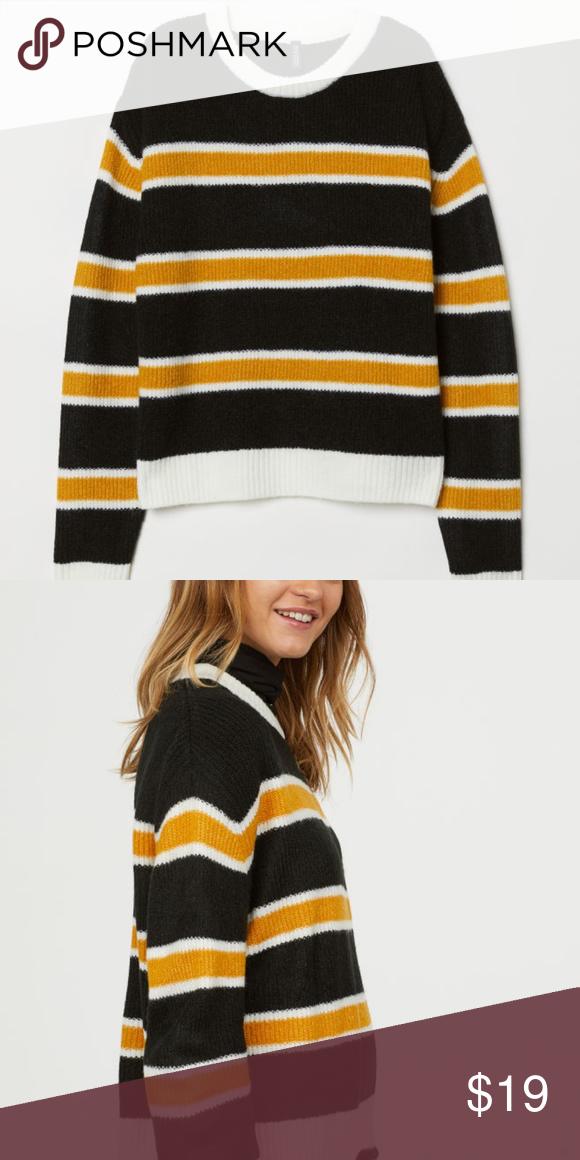 Nwt Hm Black And Yellow Striped Knit Sweater Nwt My Posh Picks