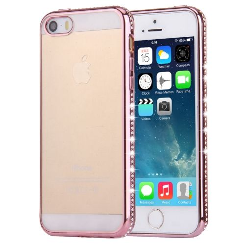 [$1.66] For iPhone SE & 5s & 5 Diamond Encrusted Electroplating Frame Transparent TPU Protective Case(Rose Gold)