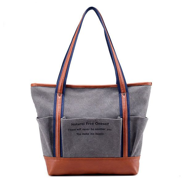 Ladies Canvas Tote Shopper Leather Outer Handbags for Women Bag
