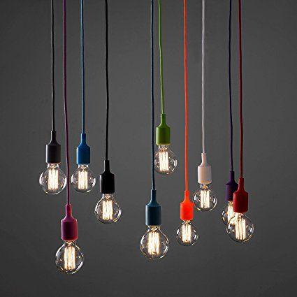 Minisun Contemporary Es E27 Grey Designer Ceiling Suspension Rose Braided Flex Lamp Holder