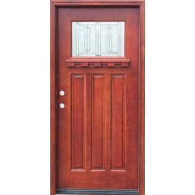 Craftsman 1 Lite Stained Mahogany Wood Prehung Front Door With Dentil Shelf,  Medium Mahogany