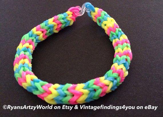 9ebf60bb902f Glow In Dark Neon Pink Green Yellow Handmade Chevron Bracelet Rainbow Loom  Rubber Band on Etsy