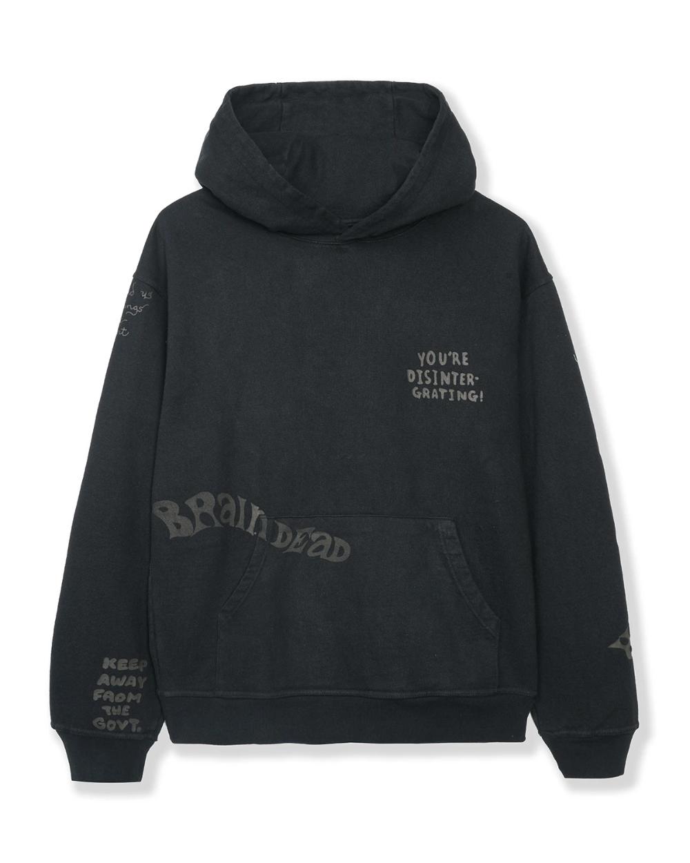 Tonal Type Print Hooded Sweatshirt Hoodie - Black