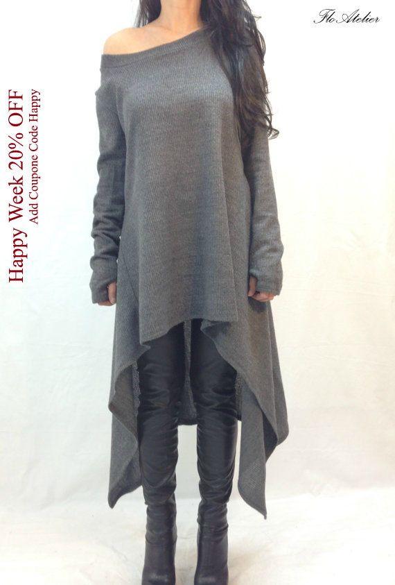 Gray Asymmetrical Sweater/Top Sweater Dress/Knitwear Dress/Long Women Ribbet Knitted Sweater Coat/Loose PlusSize Sweater Blouse/F1234