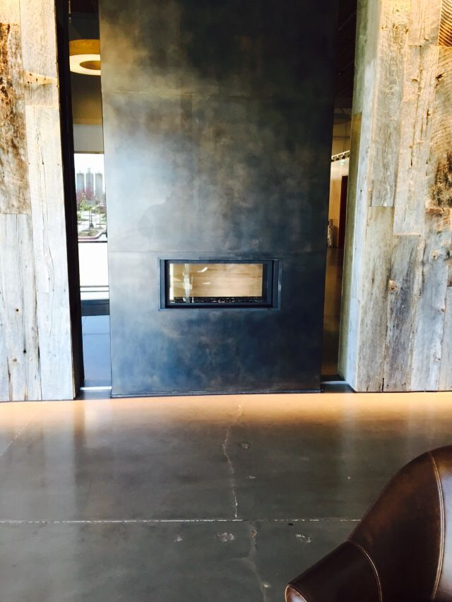 Linear Fireplace Wrapped In Cold Rolled Steel Linear Fireplace Fireplace Architecture House