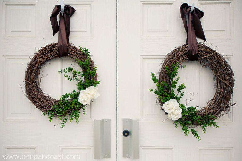 Wreaths on doors Presbyterian Church Wedding wreaths