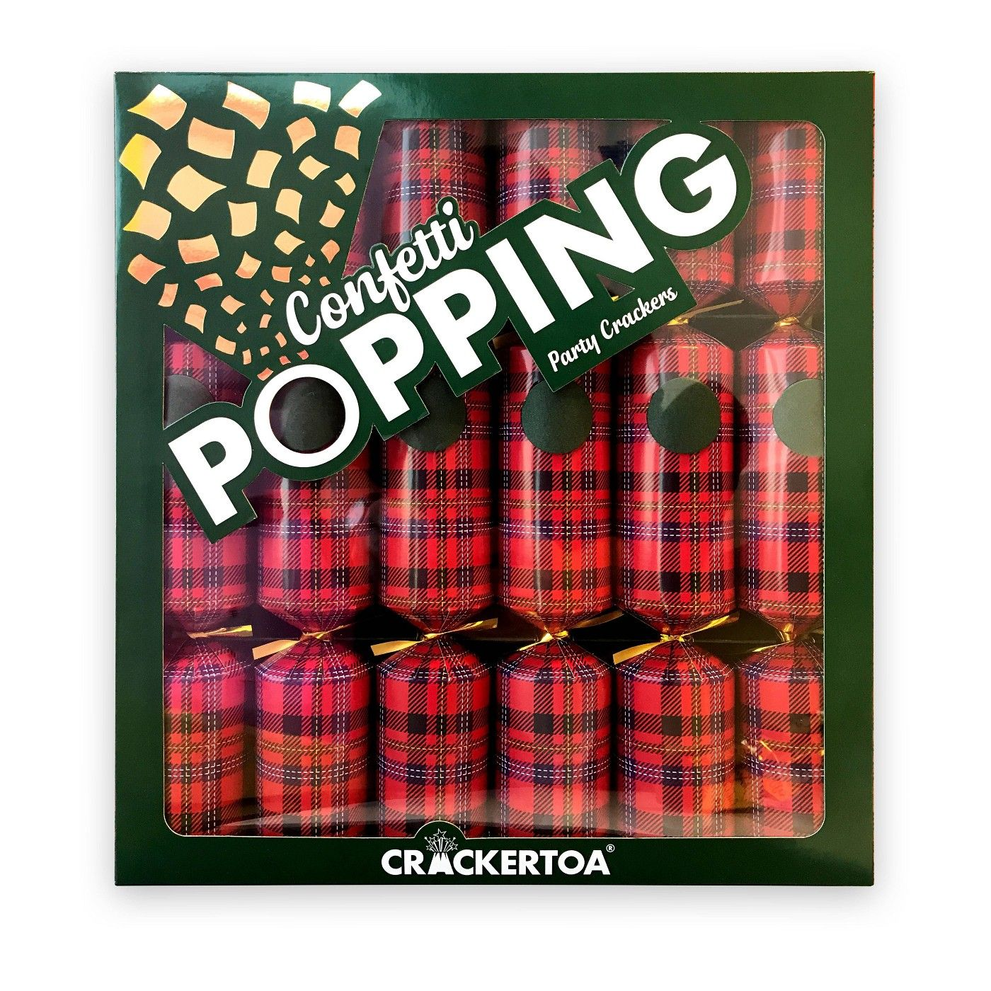6ct Confetti Popping Tartan Christmas Crackers Party