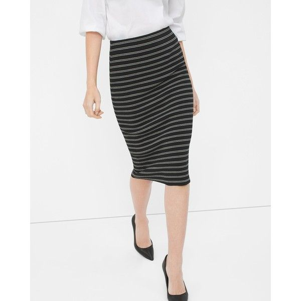 0e1552a32c White House Black Market Stripe Sweater Pencil Skirt ($88) ❤ liked on Polyvore  featuring