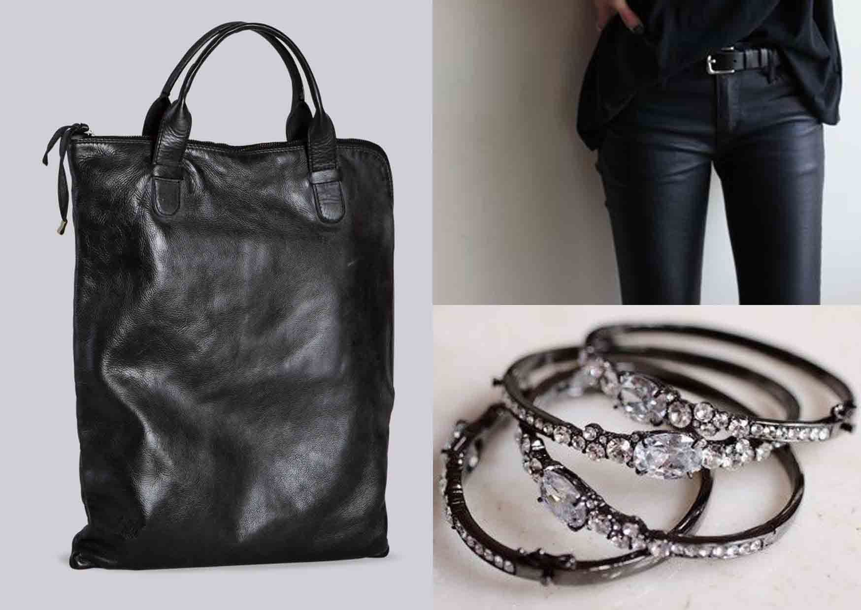 Total Black Casual Style: With Mialuis Black Ariel we suggest you a total black casual look with strech leather pants, a black oversize pull and few basic accessories. #outfitideas #mialuis